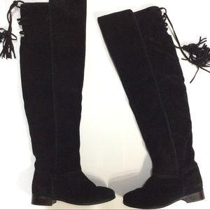 ZARA OTK black suede boots lace up tassels sz 7.5